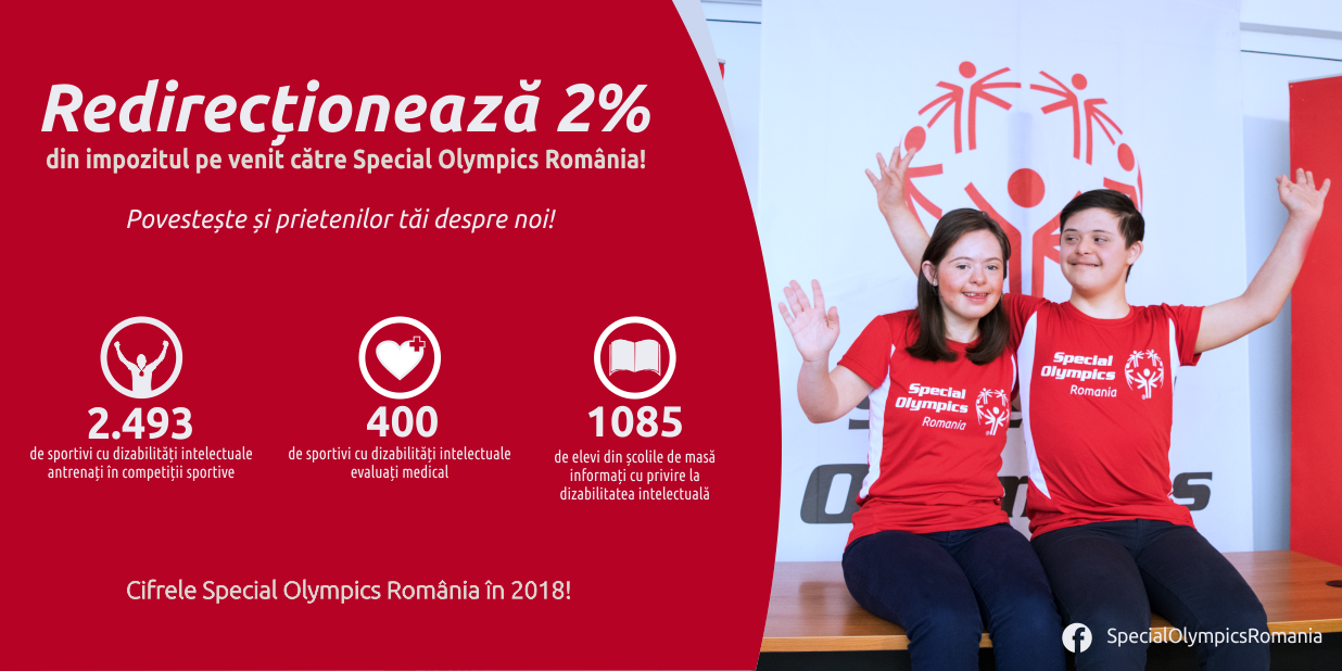 Redirectioneaza 2% din venit catre Special Olympics Romania
